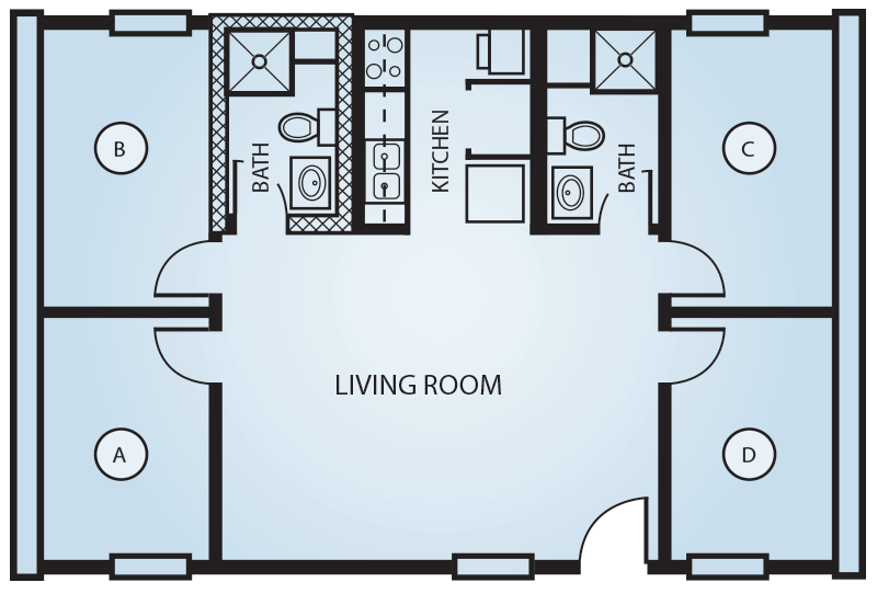 The quads housing options residence life student for Quad apartment plans